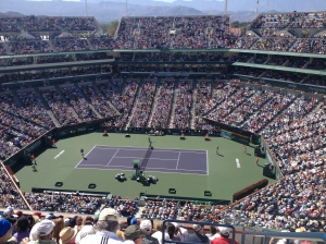 Roger Federer (serving on left) vs Novak Djokovic in the 2014 BNP Paribas Open final at Indian Wells, CA