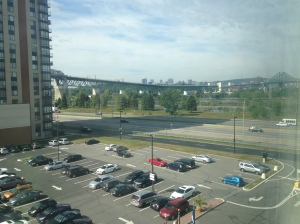 The Montreal skyline and Jacques Cartier Bridge seen from my hotel in Longueuil.